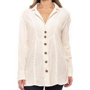 Free People Ivory/Cream Button Down Henley Tunic